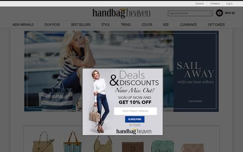 Screenshot of Home Page handbagheaven.com - Handbags | Discount Purses | Handbag Heaven - captured Aug. 10, 2015