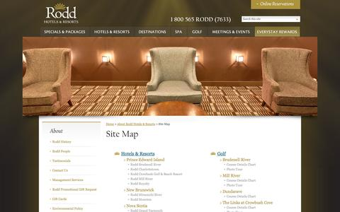 Screenshot of Site Map Page roddvacations.com - Rodd Hotels & Resorts - Site Map - captured Sept. 19, 2014