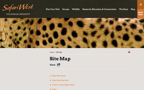 Screenshot of Site Map Page safariwest.com - Site Map - Safari West - captured July 26, 2018