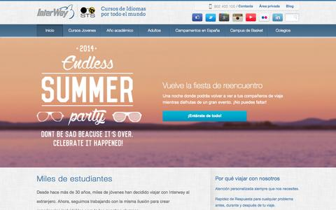 Screenshot of Home Page interway.es - Interway. Cursos de idiomas en el extranjero. Primera empresa del sector certificada en España Interway - captured Oct. 6, 2014