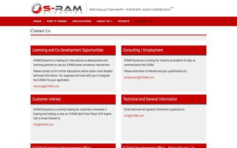 Screenshot of Contact Page s-ram.com - Contact Us - captured Sept. 26, 2017