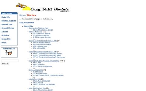 Screenshot of Site Map Page easybuiltmodels.com - Easy Built Models - Site Map - captured June 15, 2016