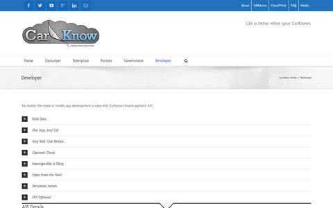 Screenshot of Developers Page carknow.me - CarKnow Homepage   –  Developer - captured Sept. 27, 2018