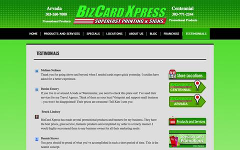 Screenshot of Testimonials Page printandpromos4biz.com - Great reviews for Denver Printer BizCard Xpress | printandpromos4biz.com - captured Oct. 5, 2014
