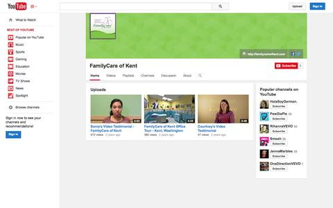 Screenshot of YouTube Page youtube.com - FamilyCare of Kent  - YouTube - captured Oct. 23, 2014