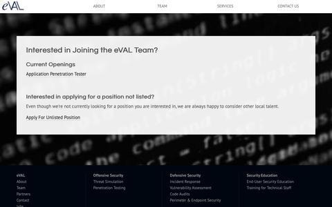Screenshot of Jobs Page eval.agency - Jobs   eVAL Agency - captured Sept. 30, 2018