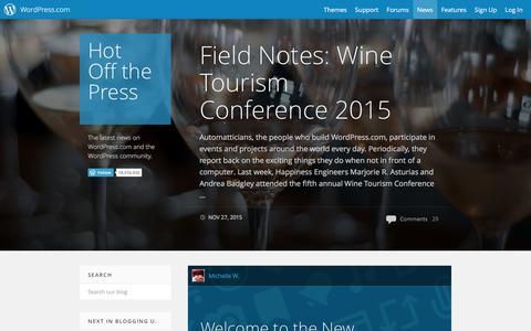 Screenshot of Blog wordpress.com - WordPress.com News - captured Dec. 1, 2015