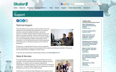 Screenshot of Support Page skalar.com - Support - captured Nov. 19, 2016