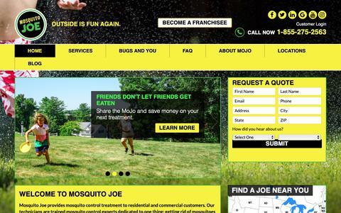 Screenshot of Home Page mosquitojoe.com - Mosquito Control | Mosquito Joe | Eliminate Mosquitos - captured Nov. 18, 2018