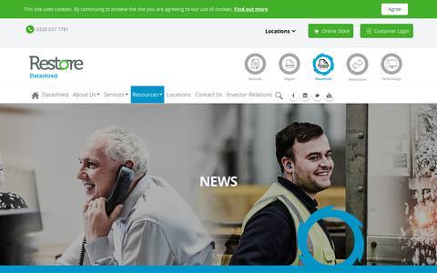 Screenshot of Press Page restore.co.uk - News - Shredding Services - captured Sept. 26, 2018