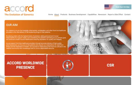 Screenshot of About Page accord-healthcare.com - About Us | Accord-healthcare.com - captured July 28, 2018