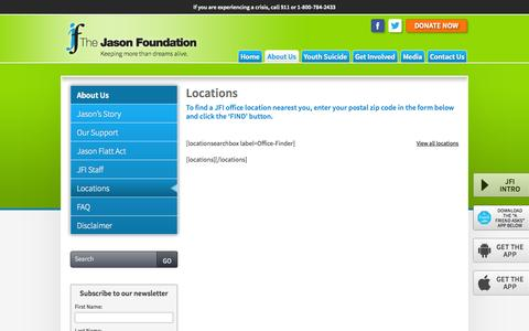 Screenshot of Locations Page jasonfoundation.com - Locations - The Jason Foundation - captured Oct. 7, 2014