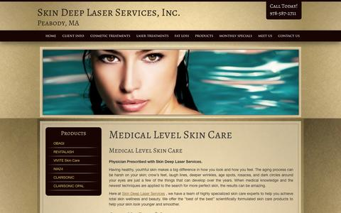 Screenshot of Products Page skindeep-ma.com - Our Products, Skin Deep Laser Services Peabody Laser Specialists - captured Oct. 4, 2014