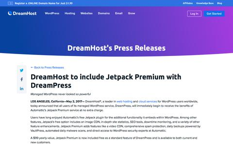 Screenshot of Press Page dreamhost.com - DreamHost to include Jetpack Premium with DreamPress  – DreamHost - captured Feb. 21, 2020