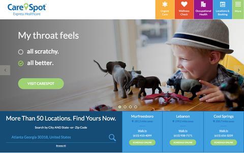 Screenshot of Home Page carespot.com - CareSpot Urgent Care | Walk In Medical Clinic - captured Dec. 7, 2015