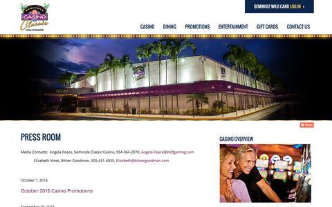 Screenshot of Press Page seminoleclassiccasino.com - Press Room | Seminole Classic Casino - captured Dec. 18, 2016