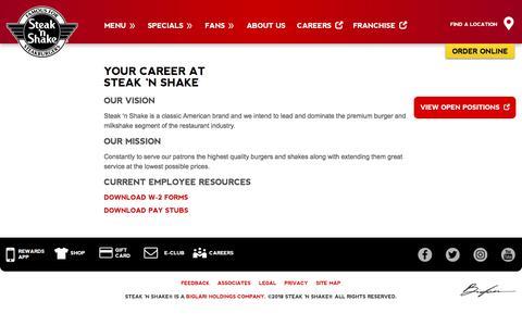 Screenshot of Jobs Page steaknshake.com - Careers   Steak 'n Shake - captured Sept. 21, 2018