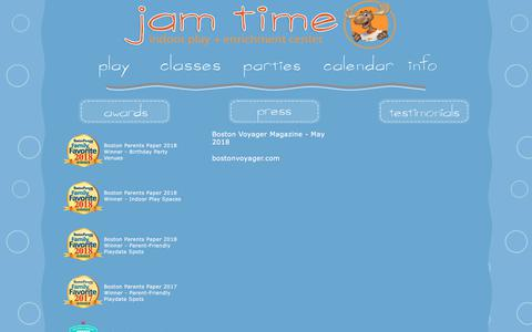 Screenshot of Press Page jamtime.com - jam time contact information - captured July 26, 2018