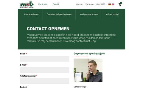 Screenshot of Contact Page msb.nu - Neem contact met ons op - captured July 26, 2018