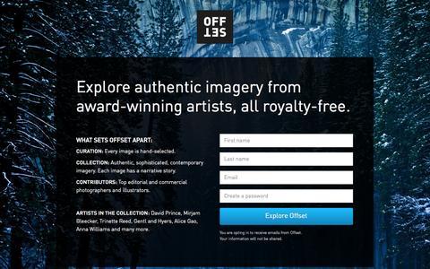 Screenshot of Landing Page offset.com - Sign Up - OFFSET - captured Oct. 27, 2014