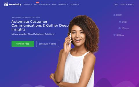 Screenshot of Home Page knowlarity.com - Cloud telephony, Virtual Number services, Call Centre Solutions, Outbound calling solutions and IVR Services-Knowlarity - captured April 24, 2018