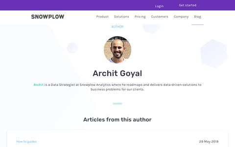 Screenshot of Blog snowplowanalytics.com - Blog – Archit Goyal - captured Feb. 10, 2020