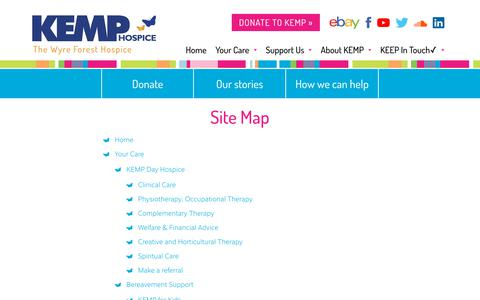 Screenshot of Site Map Page kemphospice.org.uk - KEMP Hospice: The Wyre Forest Hospice - captured Sept. 20, 2018