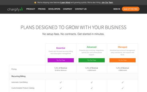 Screenshot of Pricing Page chargify.com - Billing Plans for Startups and Small Businesses - Chargify - captured Feb. 1, 2017