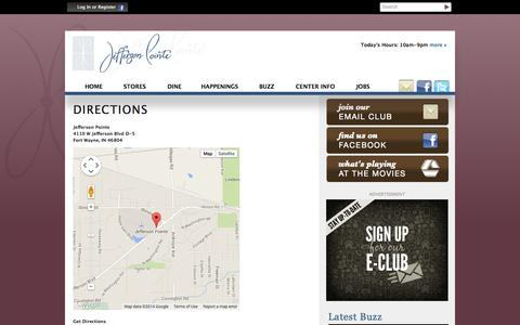 Screenshot of Maps & Directions Page jeffersonshopping.com - Directions to Jefferson Pointe :: Fort Wayne IN - captured Oct. 6, 2014