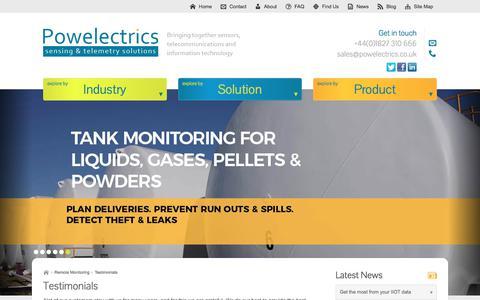 Screenshot of Testimonials Page powelectrics.co.uk - Testimonials - captured Aug. 17, 2017