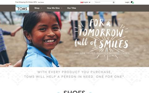Screenshot of Home Page toms.ca - The One for One Company | TOMS - captured Jan. 15, 2016