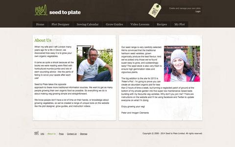Screenshot of About Page seedtoplate.co.uk - Organic Vegetable Seeds || Seed to Plate - Grow your own vegetables from seed - captured Oct. 3, 2014