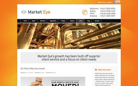 Screenshot of Press Page marketeye.com.au - News - Market Eye - captured Sept. 30, 2014
