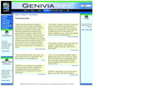 Screenshot of Testimonials Page genivia.com - Genivia: Testimonials - captured Oct. 2, 2014