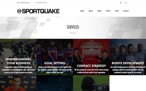 Screenshot of Services Page sportquake.com - Services | SportQuake | Sports Marketing Agency | Shaking Up Sport - captured Aug. 14, 2015