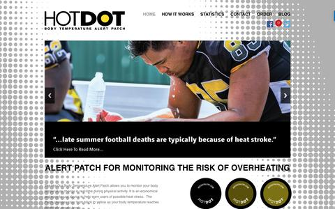Screenshot of Home Page hotdotalert.com - Hot Dot Alert Patch | Body Temperature Alert Patch | Monitor The Risk Of Overheating - captured Nov. 1, 2017