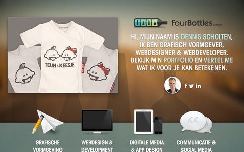 Screenshot of Home Page fourbottles.nl - FourBottles Design   Grafische Vormgeving, Webdesign & Development - captured Jan. 26, 2015