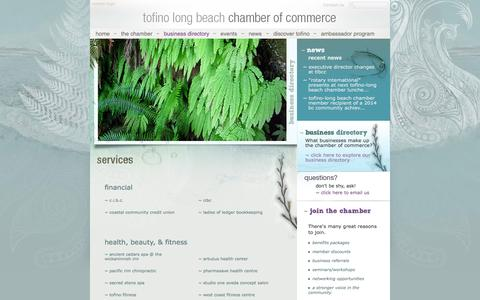 Screenshot of Services Page tofinochamber.org - Services - captured Oct. 6, 2014