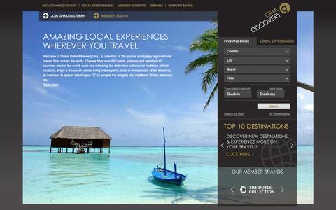 Screenshot of Home Page gha.com - Luxury Resorts & Hotels - Hotel Loyalty Programme - Global Hotel Alliance - captured Sept. 19, 2014