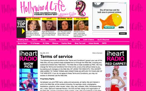 Screenshot of Terms Page hollywoodlife.com - Terms of service   - Hollywood Life - captured Sept. 19, 2014