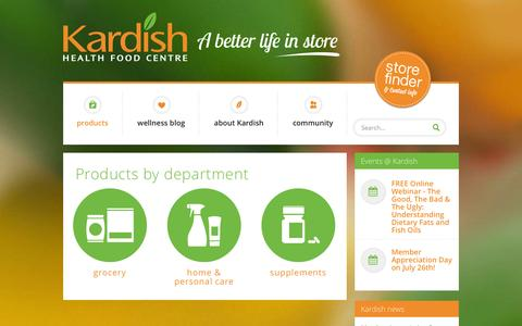 Screenshot of Products Page kardish.com - Collections - Kardish Health Food Centre - captured Oct. 6, 2014