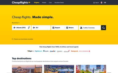 Screenshot of Home Page cheapflights.ca - Cheap Flights, Airline Tickets, and Airfare - Cheapflights.ca - captured Nov. 17, 2018