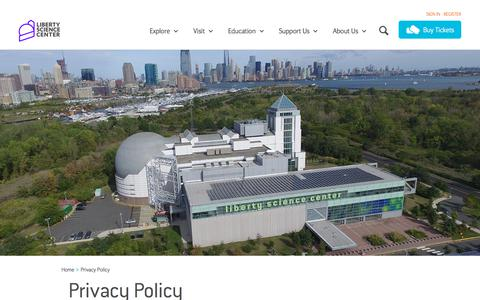Screenshot of Privacy Page lsc.org - Liberty Science Center :: Privacy Policy - captured Sept. 24, 2018