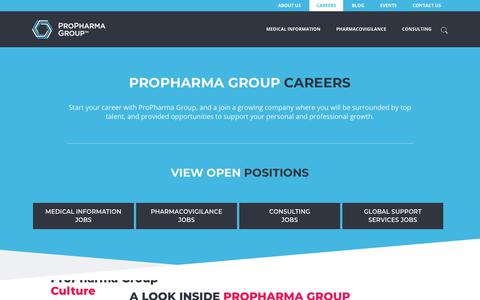 Screenshot of Jobs Page propharmagroup.com - ProPharma Group Careers, Job Opportunities - captured June 1, 2018