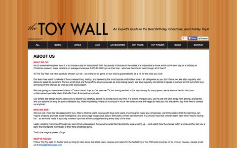 Screenshot of About Page thetoywall.com - The Toy Wall - About Us - captured Sept. 30, 2014