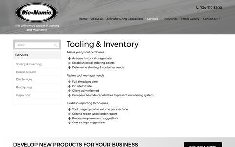 Screenshot of Services Page die-namic.com - Tooling & Inventory - Belleville, Detroit, Ann Arbor, | Die-Namic Inc. - captured Nov. 24, 2016