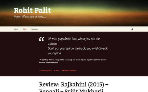 Screenshot of Blog rohitpalit.com - Blog | Rohit Palit - captured Jan. 26, 2016
