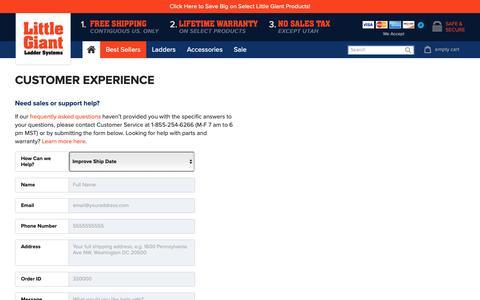 Screenshot of Support Page littlegiantladder.com - Contact Us | LittleGiantLadder.com - captured Oct. 18, 2018