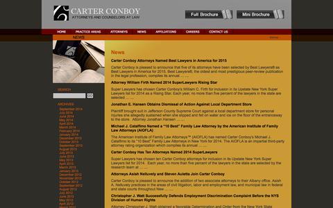 Screenshot of Press Page carterconboy.com - News | Carter Conboy Case Blackmore Maloney Laird - captured Sept. 30, 2014