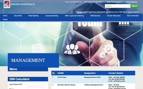 Screenshot of Team Page bcblbd.com - Bangladesh Commerce Bank Ltd - captured June 27, 2018